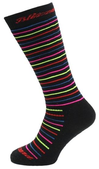 Obrázek z lyžařské ponožky BLIZZARD Viva Allround ski socks, black/rainbow stripes, AKCE