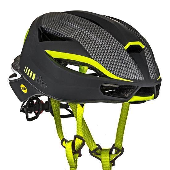 Obrázek z helma RH+ Lambo MIPS, matt black/matt carbon/yellow fluo, AKCE