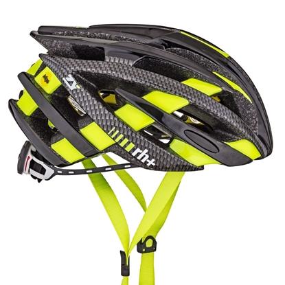 Obrázek helma RH+ ZY, shiny black/matt carbon/yellow fluo