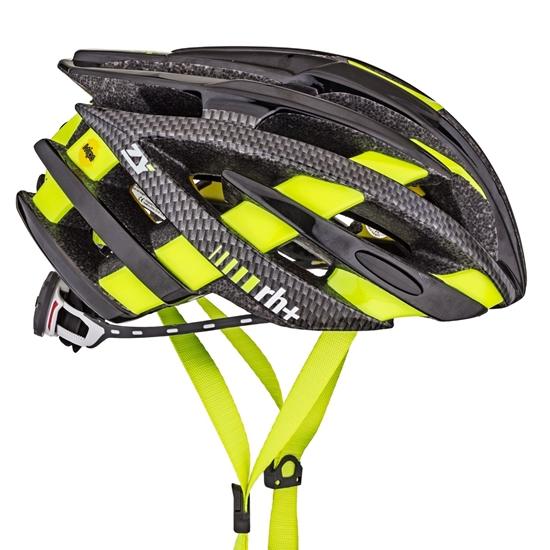 Obrázek z helma RH+ ZY, shiny black/matt carbon/yellow fluo, AKCE