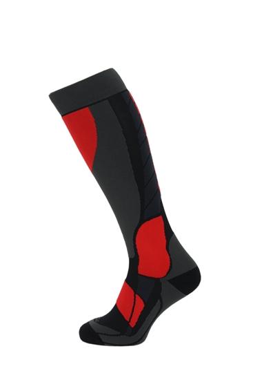 Obrázek z lyžařské ponožky BLIZZARD Compress 120 ski socks, black/grey/red