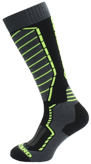 Obrázek z lyžařské ponožky BLIZZARD Profi ski socks, black/anthracite/signal yellow