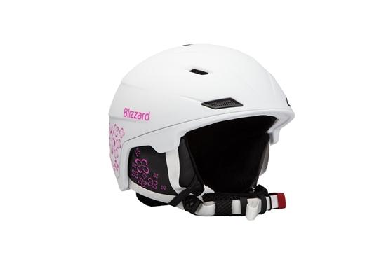 Obrázek z helma BLIZZARD Demon ski helmet junior, white matt/magenta flowers