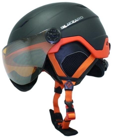 Obrázek z helma BLIZZARD Double Visor ski helmet, black matt/neon orange, orange mirror, AKCE