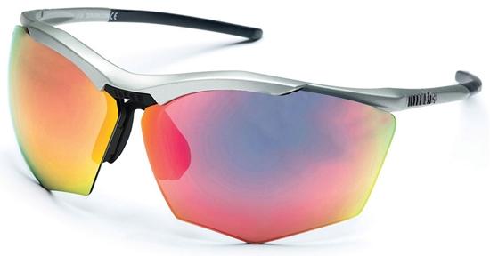 Obrázek z sluneční brýle RH+ Super Stylus, matt silver/black, smoke flash silver/pink + orange lens