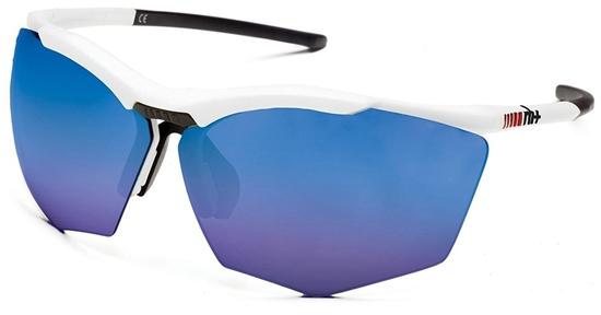 Obrázek z sluneční brýle RH+ Super Stylus, white/black, smoke flash blue + orange lens, AKCE