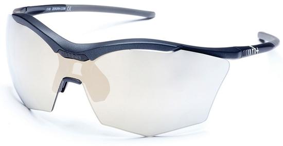 Obrázek z sluneční brýle RH+ Ultra Stylus, matt black/grey, smoke flash light gold/silver + orange lens