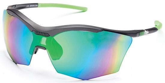 Obrázek z sluneční brýle RH+ Ultra Stylus, dark grey/neon green, green flash green/violet + orange lens