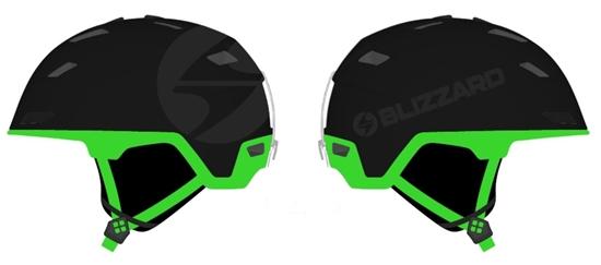 Obrázek z helma BLIZZARD Double ski helmet, black matt/neon green, big logo