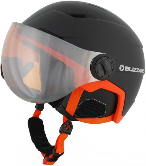 Obrázek z helma BLIZZARD Double Visor ski helmet, black matt/neon orange, big logo, orange lens, mirror