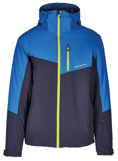 Obrázek z lyžařská bunda BLIZZARD Mens Ski Jacket Cervinia, grey/bright blue/neon green zipper